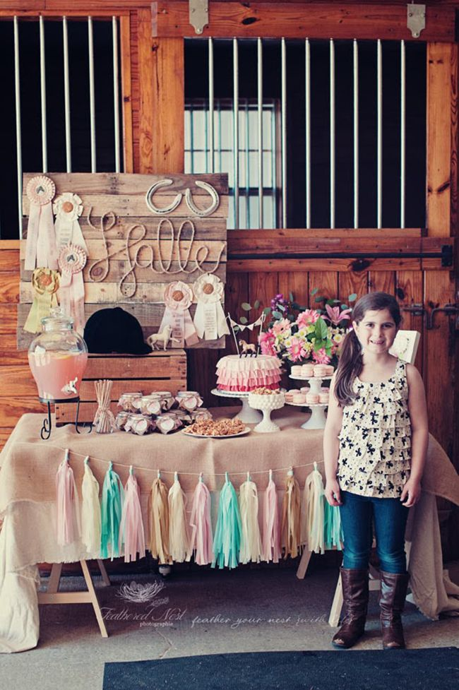 """Gorgeous rustic equestrian theme birthday party cute """"wood"""" straws from TJMax, ribbons, horse on cake, name in rope, painted bottles with ribbon wrapped bracelets for toss, pin the tail on horse"""