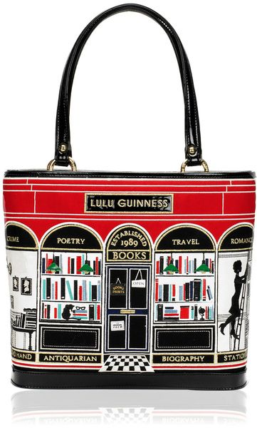 Lulu Guinness Black Book Shop Medium Edith in Black. Bookish and gorgeous!