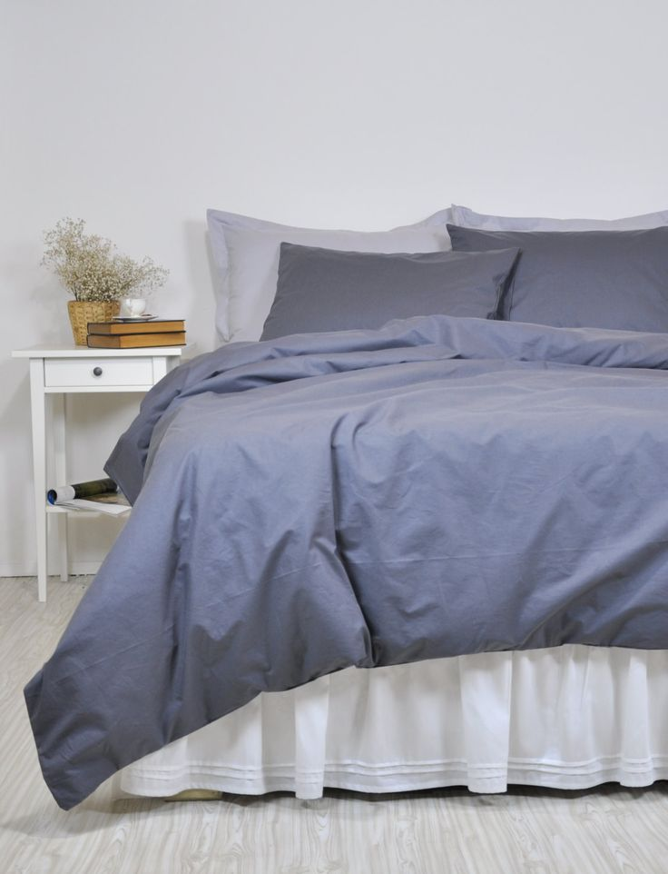 Dark Grey Duvet Cover Set Full Queen King, Pure Cotton Bedding, Solid Color Bed Linen, Cosy Neutral Bedding, Plain Bed Set with Pillowcases by RoseHomeDecor on Etsy