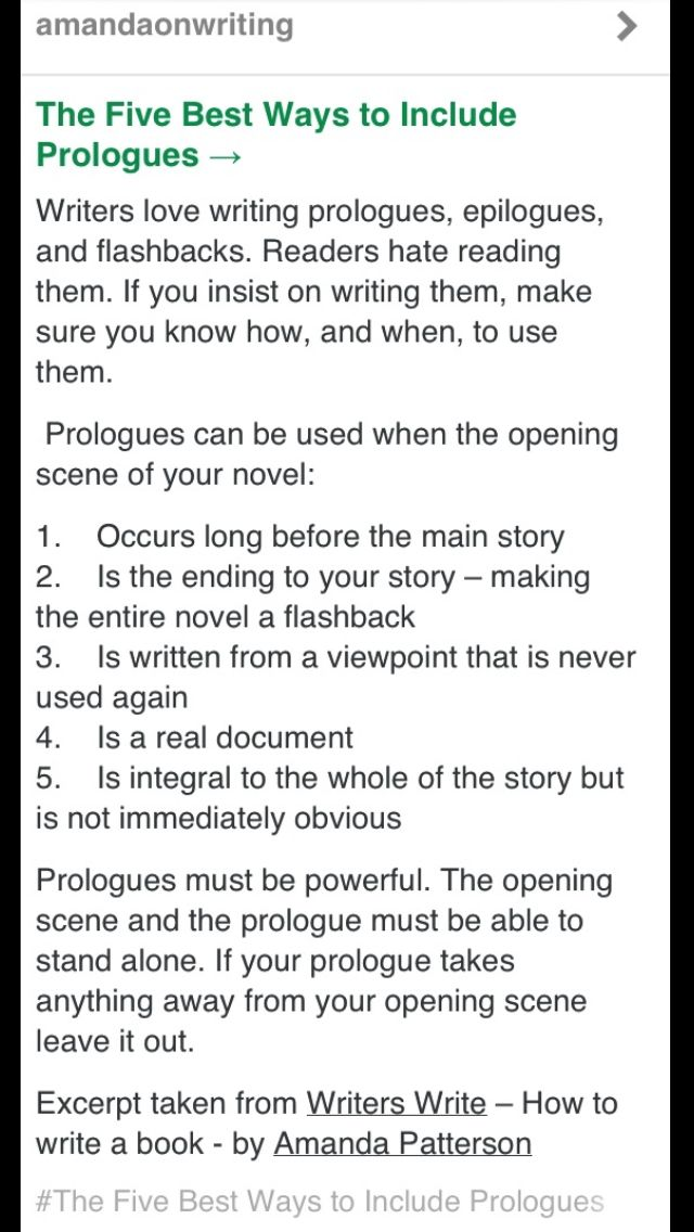 writing prologues, Amanda Patterson