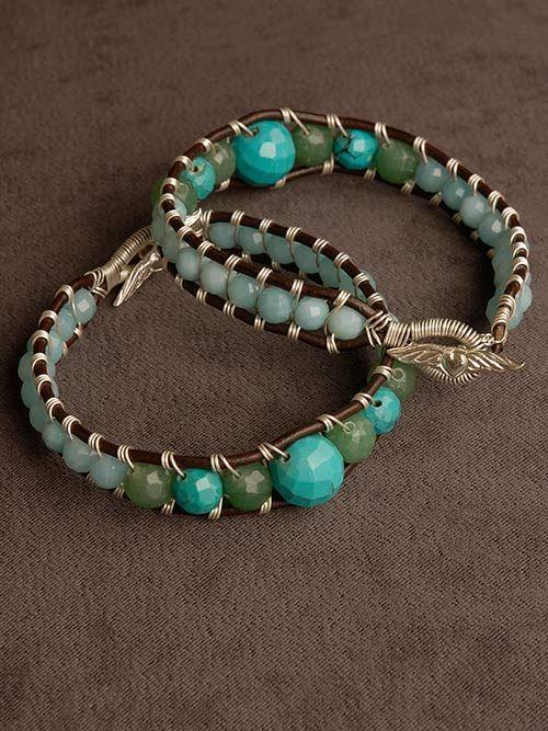 Turquoise, Aventurine Amazonite Wire Wrap Leather Bracelet  Handmade Jewelry by Harmony Scott