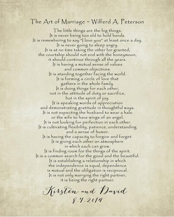 The Art Of Marriage Poem Print Personalized Wedding Blessing Gift
