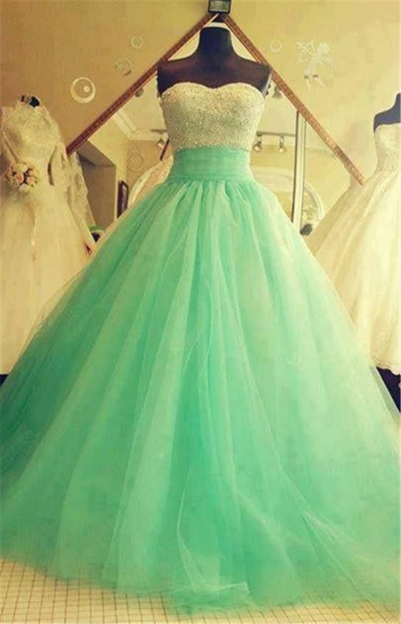 2015 Real Samples Quinceanera Dresses Beaded Sequins Turquoise Green Tulle Lace Long Backless Prom Gowns iubride D3905
