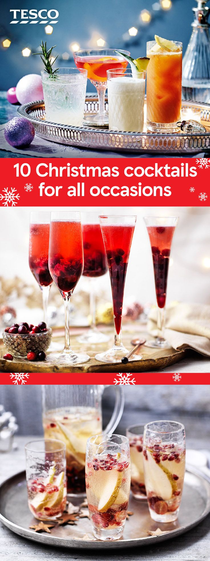 Throw the ultimate Christmas cocktail party with our top cocktail recipes for any occasion. Whether you're after celebratory fizz or a hot mulled cider to take outside, you'll find your perfect tipple here. | Tesco