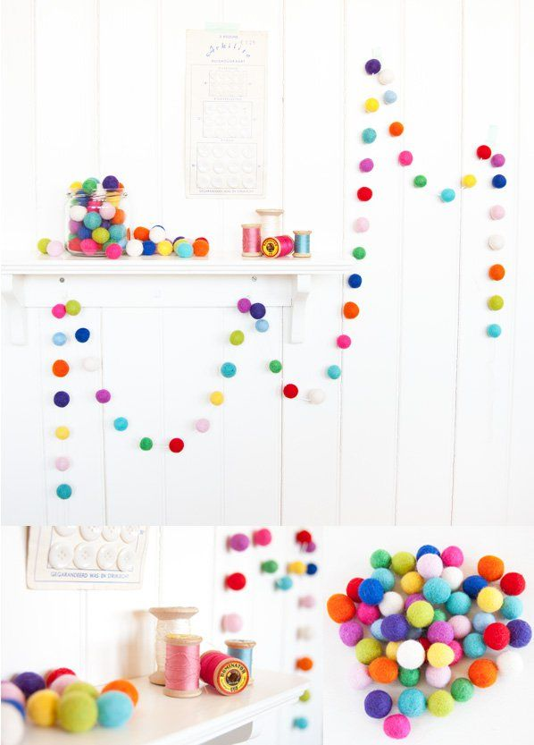Want to know how to make felt ball garland? If you're looking for easy party decorations, include this on your to-do list. It will make your party festive!