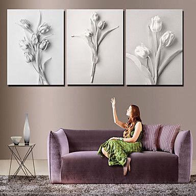Stretched Canvas Art Floral White Floral Set of 3 – AUD $ 70.82