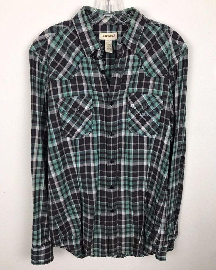 Diesel Shirt Size S Plaid Button Front Long Sleeve Green Gray Cotton Elastane #Diesel #ButtonFront