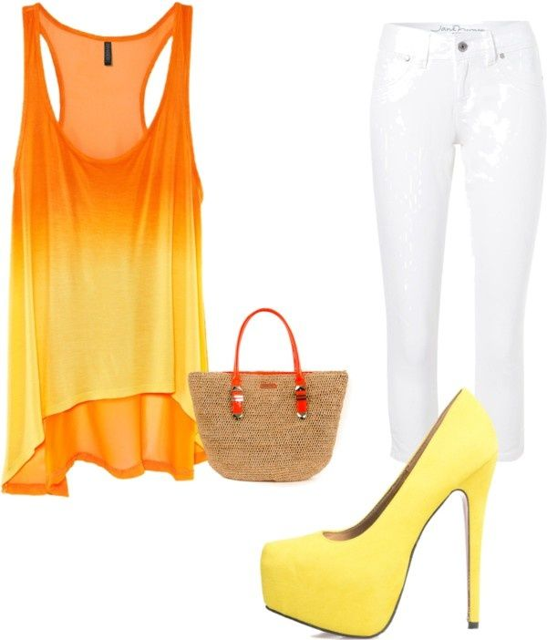 cute summer look: Fashion, Style, Dream Closet, Clothes, Spring Fling, Cute Summer Outfits, Yellow Heels, Bright Colors, Shirt
