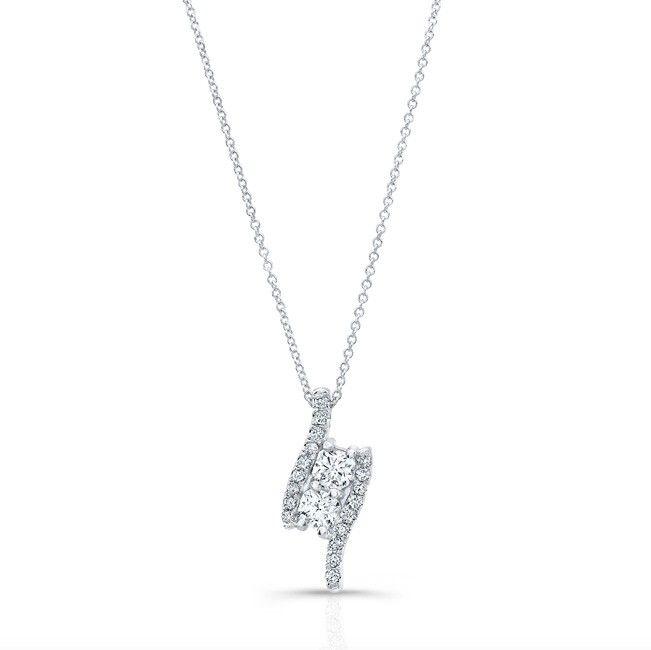 Natalie K - 18k White Gold Forevermark® Ideal Square Diamond 2 Stone Pendant - FM34234-18W