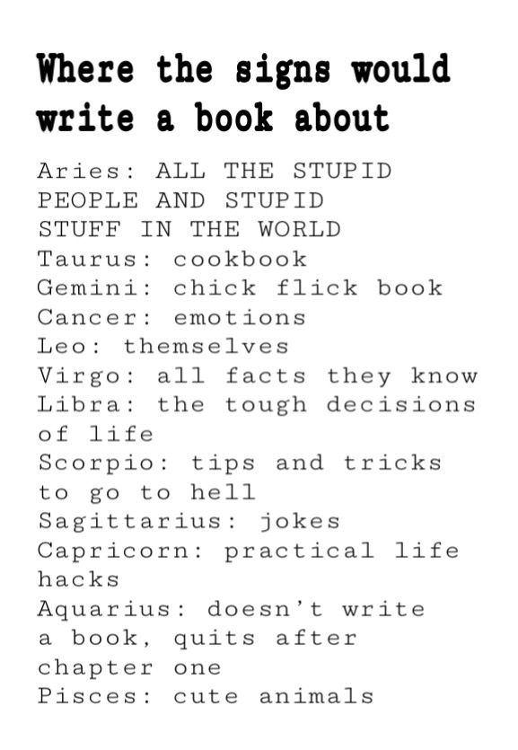 what zodiac signs would write a book about
