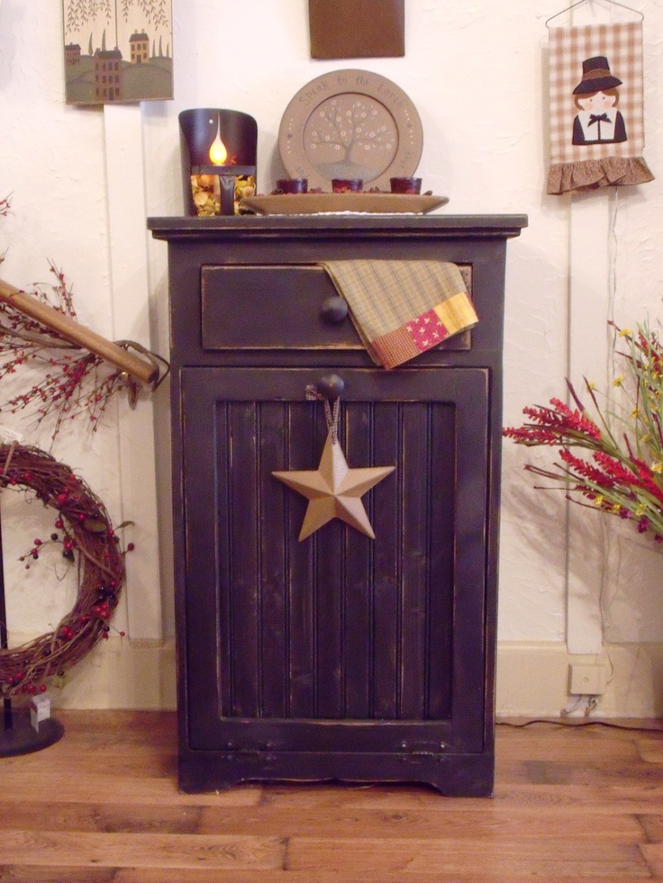 Single Door Trash Can Holder With Drawer Country Charm