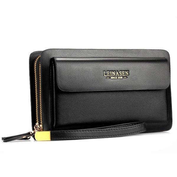 Men Business Clutch Handbag PU Leather Waterproof Cell Phone Bag Wallet - US$29.99