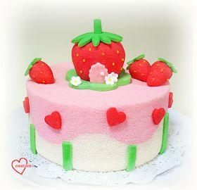 Loving Creations for You: Strawberry Shortcake-inspired Strawberry Yoghurt-Vanilla Chiffon Cake
