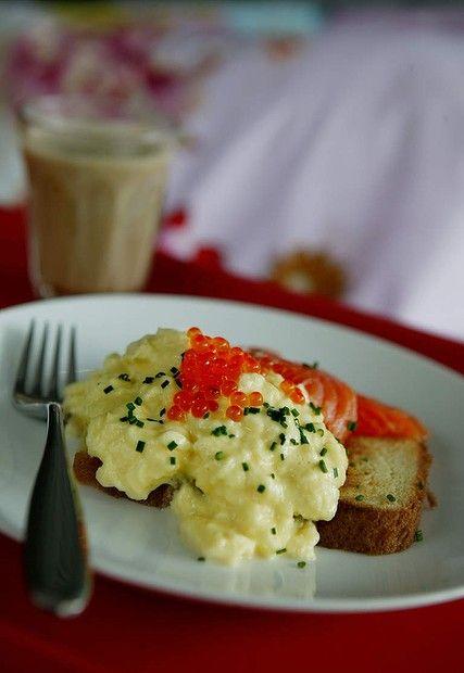 "Luke Mangan's scrambled eggs with chopped chives and salmon <a href=""http://www.goodfood.com.au/good-food/cook/recipe/scrambled-eggs-with-salmon-caviar-20131220-2zou8.html""><b>(recipe here).</b></a>"