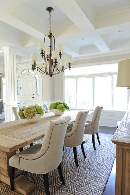 Earthy Chic: Rustic Dining Room Tables | HomeandEventStyling.com  I love green flowers, cloth chairs... Table looks clean and beachy