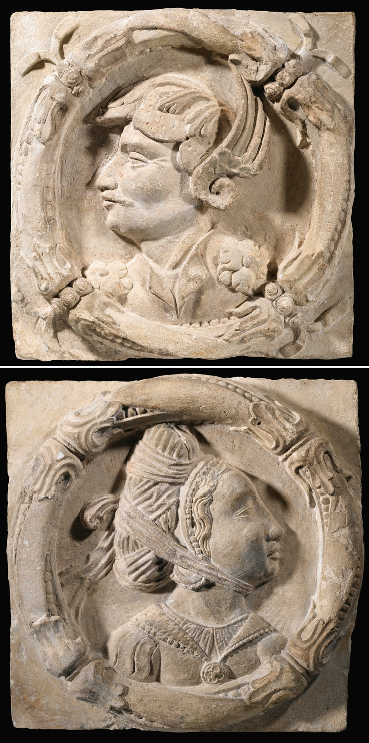 A FRENCH, LOIRE VALLEY 16TH CENTURY PAIR OF STONE MEDALLIONS