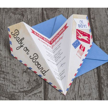 Gather your friends and family for your baby shower celebration with this Paper Airplane invitation to build up the excitement for the pending birth of your little boy. This vintage design can be folded into an aeroplane by either you or the recipient, ensuring they won't forget your special celebration! These unique invites are especially perfect for an adventure or travel themed baby shower with the fun slogan 'baby on board' on the wing.   Personalise online for printable / printed…