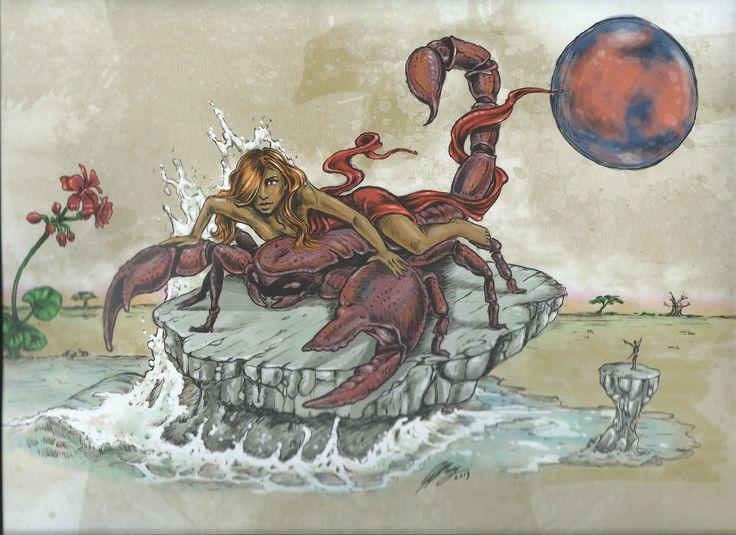 SCORPIO - African Zodiac from 2014 Art Publishers Calendar Illustrations by Blue Ocean Design