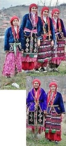 Girls in traditional festive costumes from the village of Hisaralan (near Sındırgı, Balıkesir province).  Clothing style: second half of 20th century.