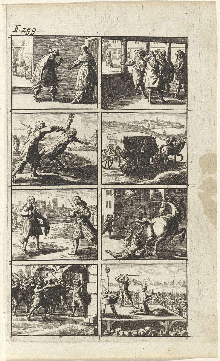 Abraham Dircksz Santvoort | Verhaal met voorstellingen van moord en doodstraf (F. 259), Abraham Dircksz Santvoort, Gerrit van Goedesberg, 1667 | Verhaal in acht scènes met enkele voorstellingen van moord en doodstraf. Onder andere van een man die een andere man met een zwaard vermoordt, een man die van zijn paard valt en van een man met een geweer voor een man met een zwaard. Rechtsonder wordt een man onthoofd. Linksboven: F. 259.