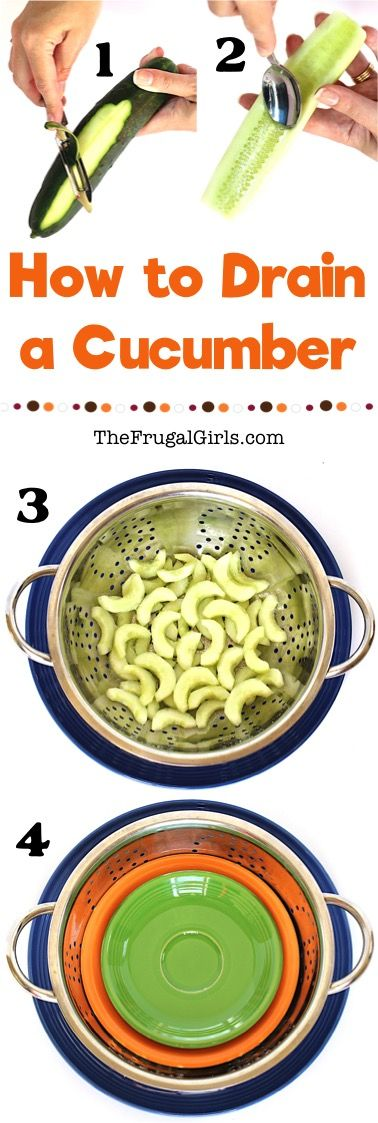 How to Drain a Cucumber - Tip from TheFrugalGirls.com - put this easy trick to use and make the BEST ever homemade Greek Tzatziki Sauce with this recipe!