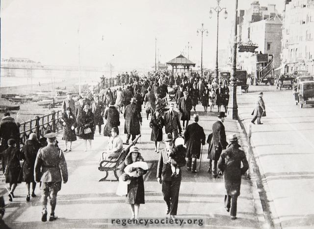 Kings Road Brighton This photograph was taken on Boxing Day 1929, and shows the front thronging with people despite it being mid-winter. Apart from the sparse traffic and the dress, not a great deal of physical change.