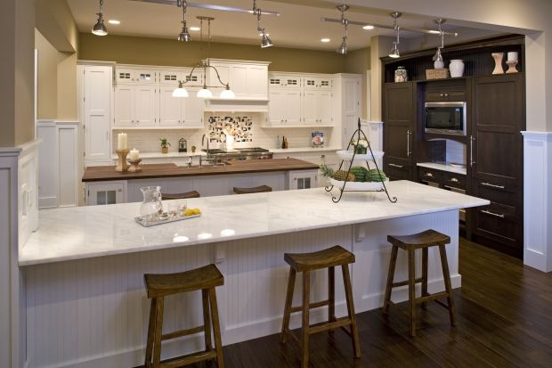 Open floor plan kitchen with fabulous cabinets kitchen for Dual island kitchen designs