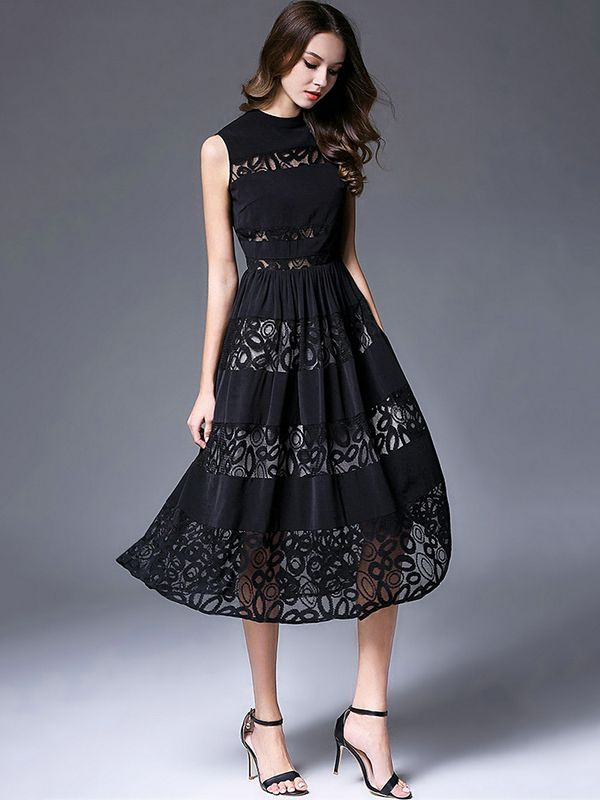 627d3368e6a Black Sleeveless Hollow Out Lace Dress in 2019