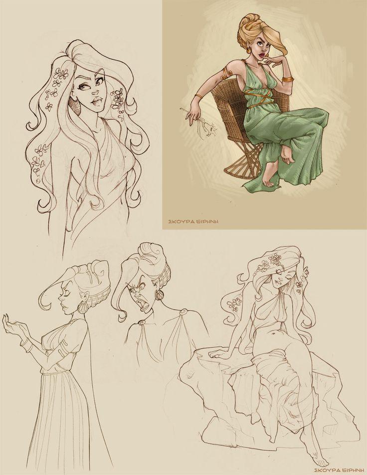 Aphrodite doodles by Ninidu.deviantart.com on @deviantART // Percy Jackson fan art