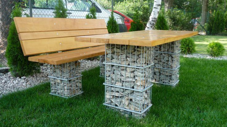 Inspirasjon | Veslemona - gabion krakk og bord med treverk og stein