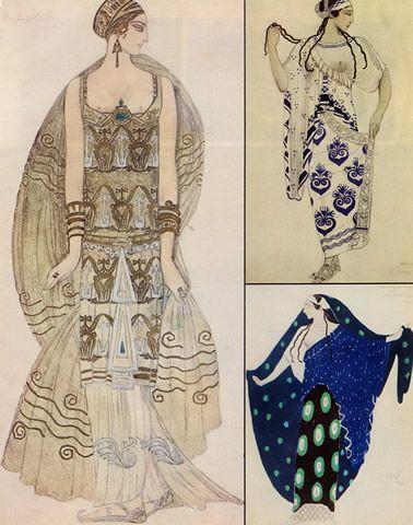 illustration russe : Ida Rubinstein, Léon Bakst, Costume grec. Phèdre, Hélène de Sparte, Cléopâtre