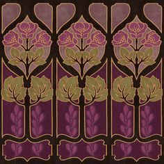 Alphonse Mucha inspired wallpaper border. Arts and Crafts era