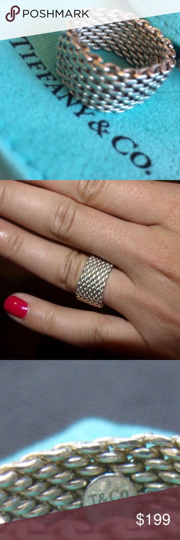 One time only price ‼️ AUTHENTIC Tiffany Mesh Ring This is a 100% authentic ring from Tiffany & Co. Comes in original blue signature Tiffany bag. Silver is cleaned and polished. *Will not trade for this.   *Smoke Free House  *Extremely quick shipping   *Thank you for your support!  *TAGS ONLY NOT: huda beauty MAC Jenner Kardashian Free People Bebe Aldo Bcbg Juicy Smashbox Anthropologie H&M Marc Jacobs Kate Spade Victoria's Secret Nasty Gal Chanel Urban Outfitters follow game Kylie contouring…
