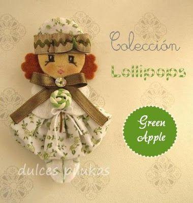 Muñeca fieltro. Pilukas Lollipops. Green Apple