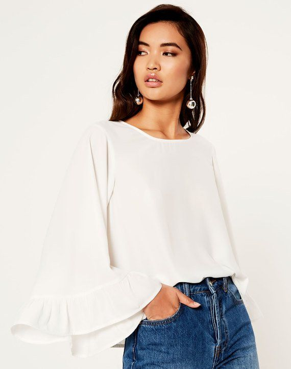 Oversized Frill Sleeve Blouse Milk