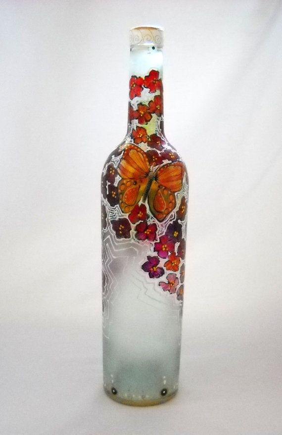 Hand Painted Bottle Art Painted Butterfly Art by skyspirit8studios, $55.00