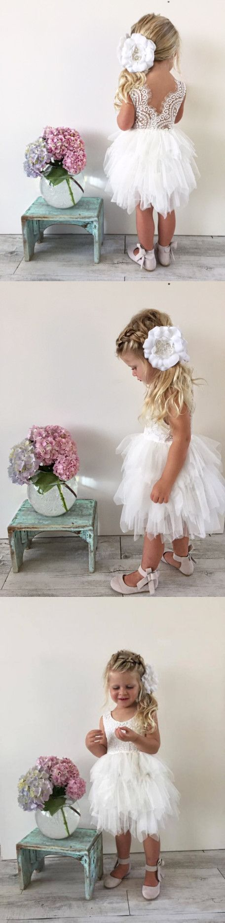 cute flower girl dress, 2017 flower girl dress, short white lace flower girl dress