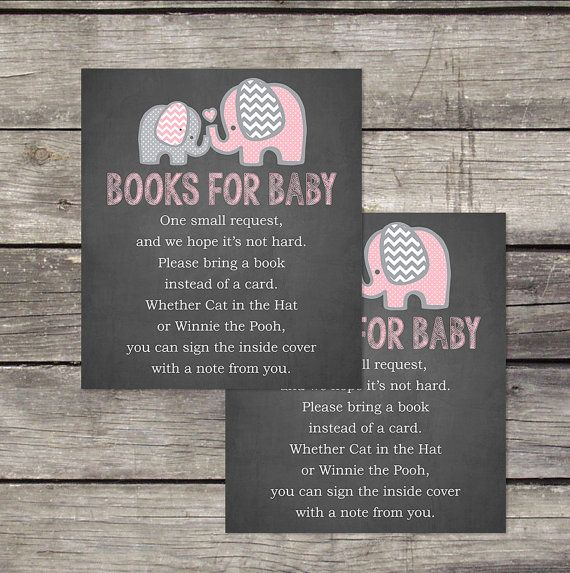 Pink Elephant Books for Baby Insert - Elephant Book Request Insert - Bring a Book Card - Elephant Baby Shower Insert - Baby-103