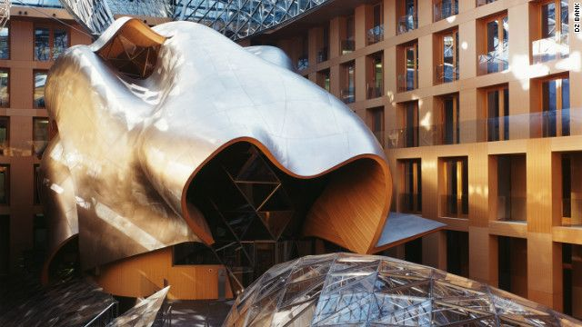 This sculpture is actually a conference room in the DZ Bank in Berlin. Designed by Frank O Gehry.