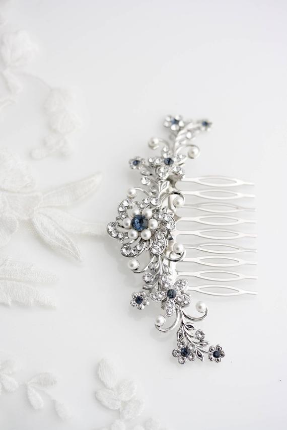 Wedding Hair Accessories Blue Bridal Hair Comb Something Blue Hair