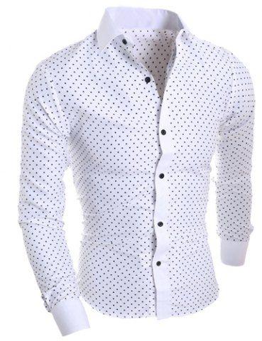 Classical Turn-Down Collar Long Sleeve Slimming Stars Print Men's Shirt Men's Shirts | RoseGal.com