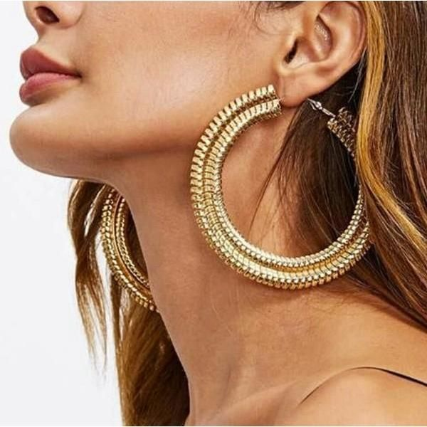 Handmade Large Hoop Earrings with Gold Plating and Cubic Zirconia Indian Jewellery Indian jewelry Bianca Large