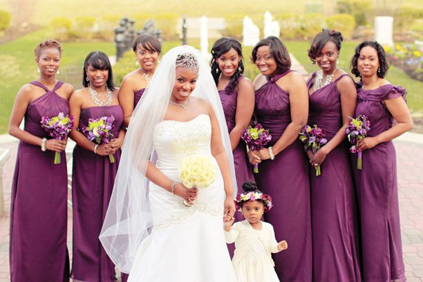 """""""Each bridesmaid wore a dress in the same color, bordeaux, but chose different designs. The dresses were from the Belsoie Jasmine Collection."""""""