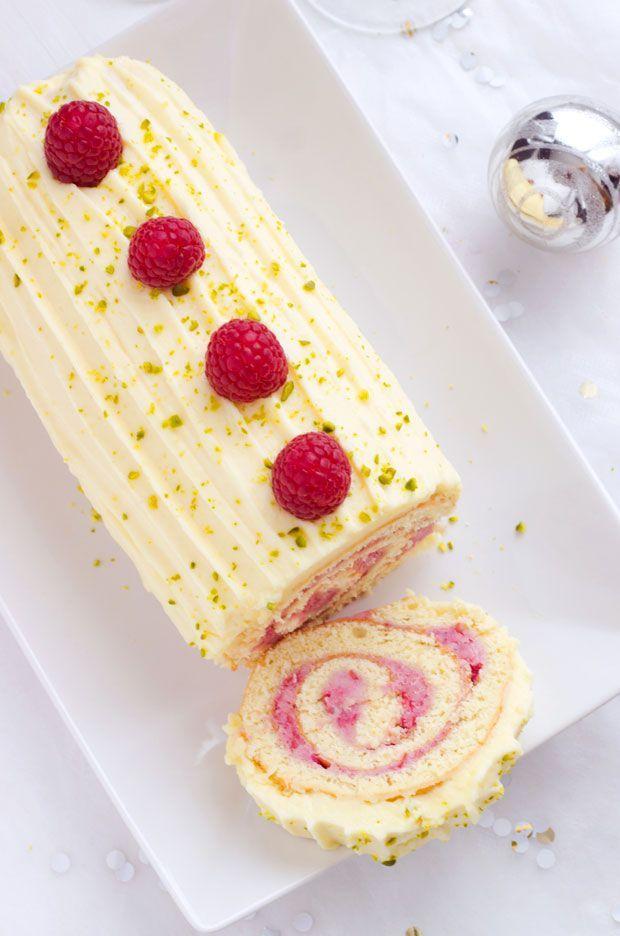 Raspberry+White Chocolate Cake Roll
