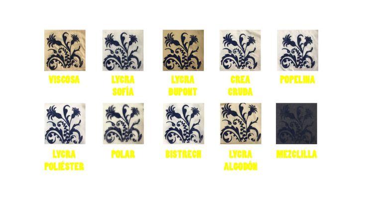Muestras proceso de estampado con flock terminadas en distintas telas.