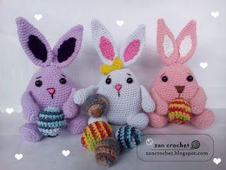Easter Bunny ~ Zan Crochet, #crochet, free pattern, amigurumi, Easter, bunny, rabbit, #haken, gratis patroon (Engels), Pasen, haas, konijn, knuffel, speelgoed, decoratie, #haakpatroon