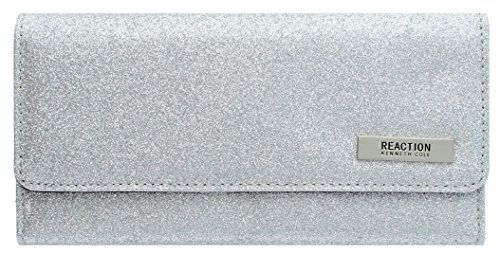 "New Trending Purses: 102522-755 Kenneth Cole Reaction Trifold Clutch ""Tri-Ed  True"" (GLITTER SILVER). 102522-755 Kenneth Cole Reaction Trifold Clutch ""Tri-Ed  True"" (GLITTER SILVER)   Special Offer: $16.92      311 Reviews Faux Leather1 inner zipper pocket , 4 open inner pockets , 14 credit card slots2 ID windows , 1 outside zipper pocket on back sideKenneth Cole Reaction Name Plate ,..."
