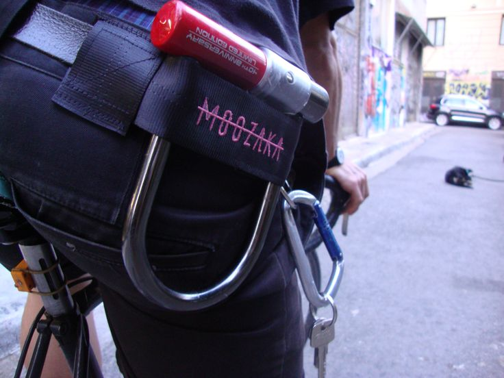 Moozaka U-Lock Holder-Pink embroidery Logo #moozaka #moozakabikestuff #builttoride #ulockholder