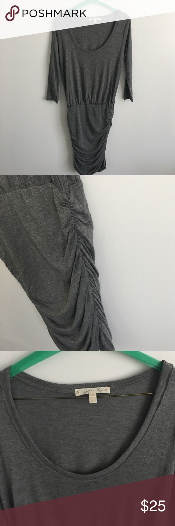 Soft joie dress Never worn soft joie dress. Gray. 3/4 sleeve. Scoop neck. Ruched bottom to accentuate curves. 100% modal fabric. Smoke free. No trades Joie Dresses Mini