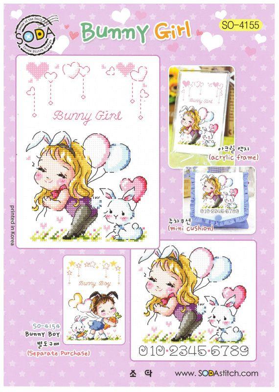 Bunny Girl así-4155 - punto de cruz patrón folleto SODA puntada - moderno Cruz tabla de puntadas - Kawaii Bunny